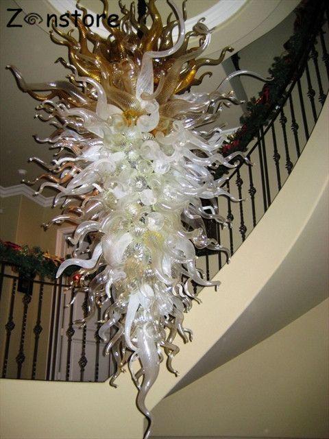 Große Kunstglas Kronleuchter Lampe Murano Glas Grau Mundgeblasenem Glas Kronleuchter und Pendelleuchten