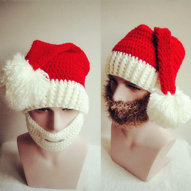 Unisex Cute Christmas Knitting Beard Mask Cap Men Women Winter Santa Claus Cosplay Warm Ear Skiing Hat Headgear DK6603FH