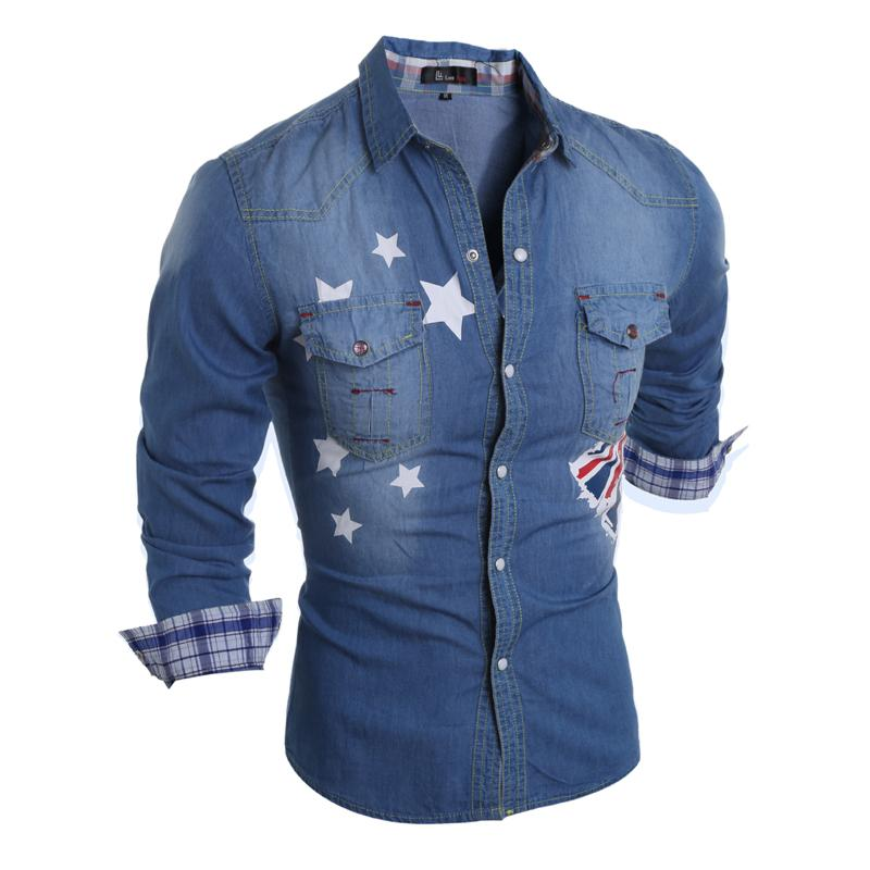 Atacado-Marca 2017 Denim Men Dress Shirt Camisa Jeans Camisa Social Masculina Long Sleeve Azul Camisas Masculinas S-XL