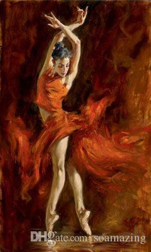 Framed Charming Handmade Oil painting female portrait young ballet girl Fiery Dance On Thick Canvas Multi Size Available Ab89!