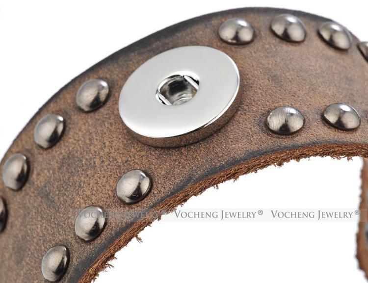 NOOSA Ginger Snap Austauschbarer Schmuck Lederarmband für 18mm Knopf Rivet Style VOCHENG NN-593