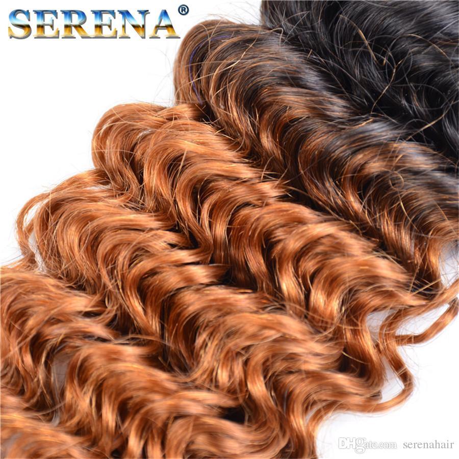 1B é Blonde Sombre Racines Ombre Brésilienne Vague Profonde Ondulés Vierge Cheveux Humains Weave Extensions de Trame Sombre Miel Blonde Cheveux