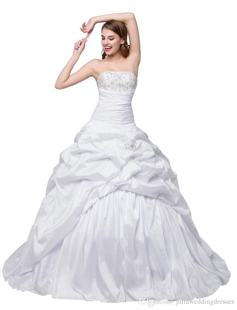fc25dae68 Compre Nueva Sexy Blanco Marfil Vestidos De Novia Baratos 2017 Tafetán Con  Lentejuelas Con Cuentas Cristales Sexy Vestidos De Novia Stock QC223 A   76.39 Del ...