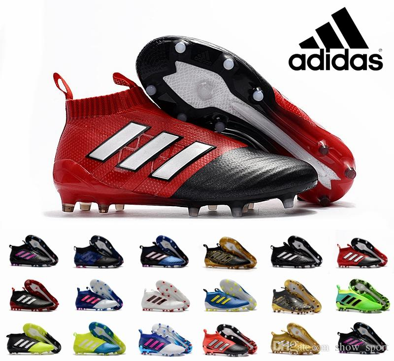 09d449ff242 Adidas Ace 17+ Purecontrol Primeknit Outdoor Soccer Cleats Firm Ground  Cleats Trainers Boost FG NSG ACE 17 Mens Football Boots Soccer Shoes Soccer  Cleats ...