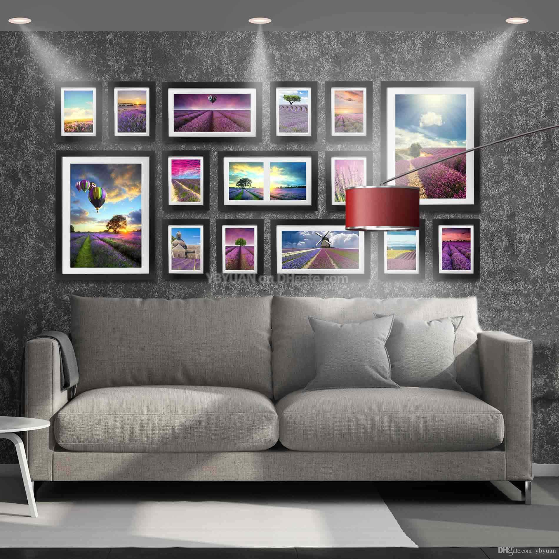 Modern Style Photo Wall Wooden Frames Combination 7/12/16 Inch ...