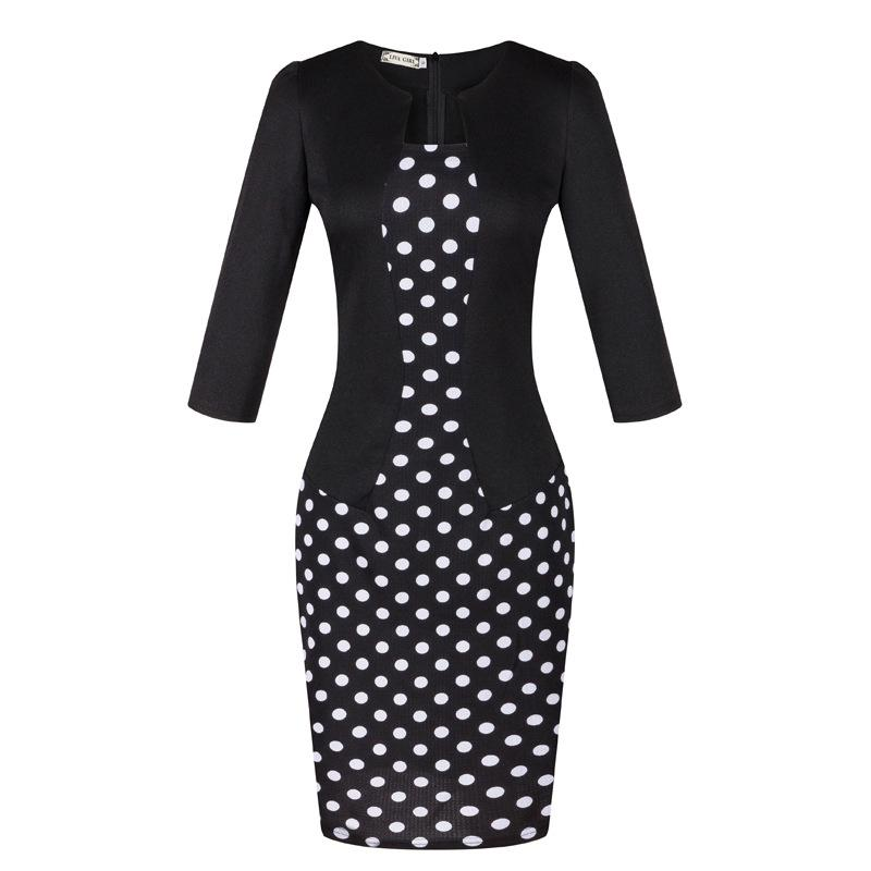 New women pencil dresses lady office skirts women work dress suit fashion spring clothes 3/4 sleeve emprie with belt bodycon OL-9002