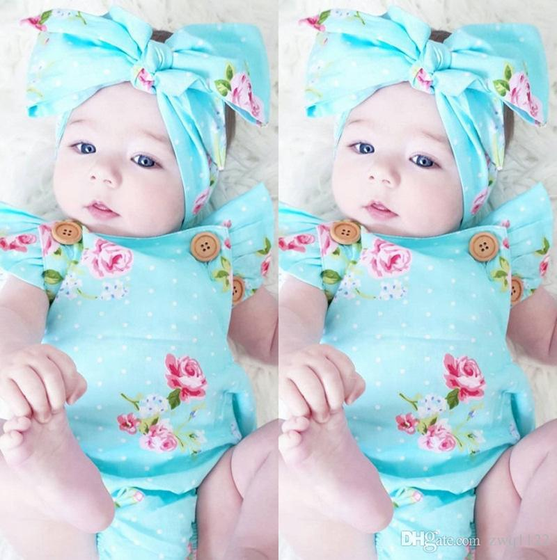 INS hot 2017 Baby girl kids toddler Summer outfits Rose floral Romper Onesies Diaper Covers Jumpsuits Lace Ruffles + Bow Headband