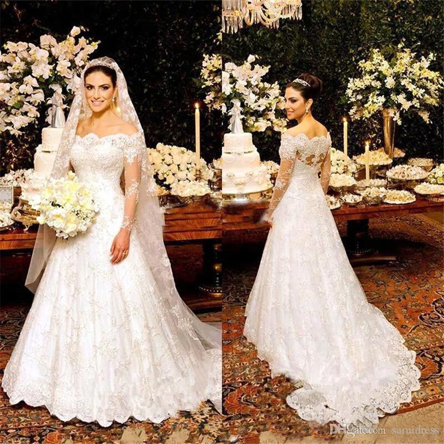 Mangas largas Fuera del hombro Longitud del piso Una línea Vestido de Novia Vestidos de novia elegantes Vestidos de novia de encaje completo vintage