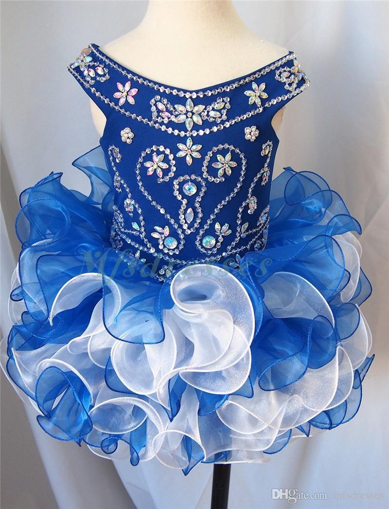2017 New Royal Blue Organza Short Girls Pageant Dresses Beading Flower Girl Dress Kids Prom Evening Gowns Girls Cupcake Party Dress