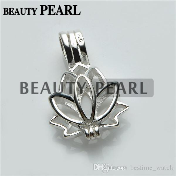 HOPEARL Jewelry Lotus Flower Pendant Charm 925 Sterling Silver Gift Wish Pearl Lotus Cage