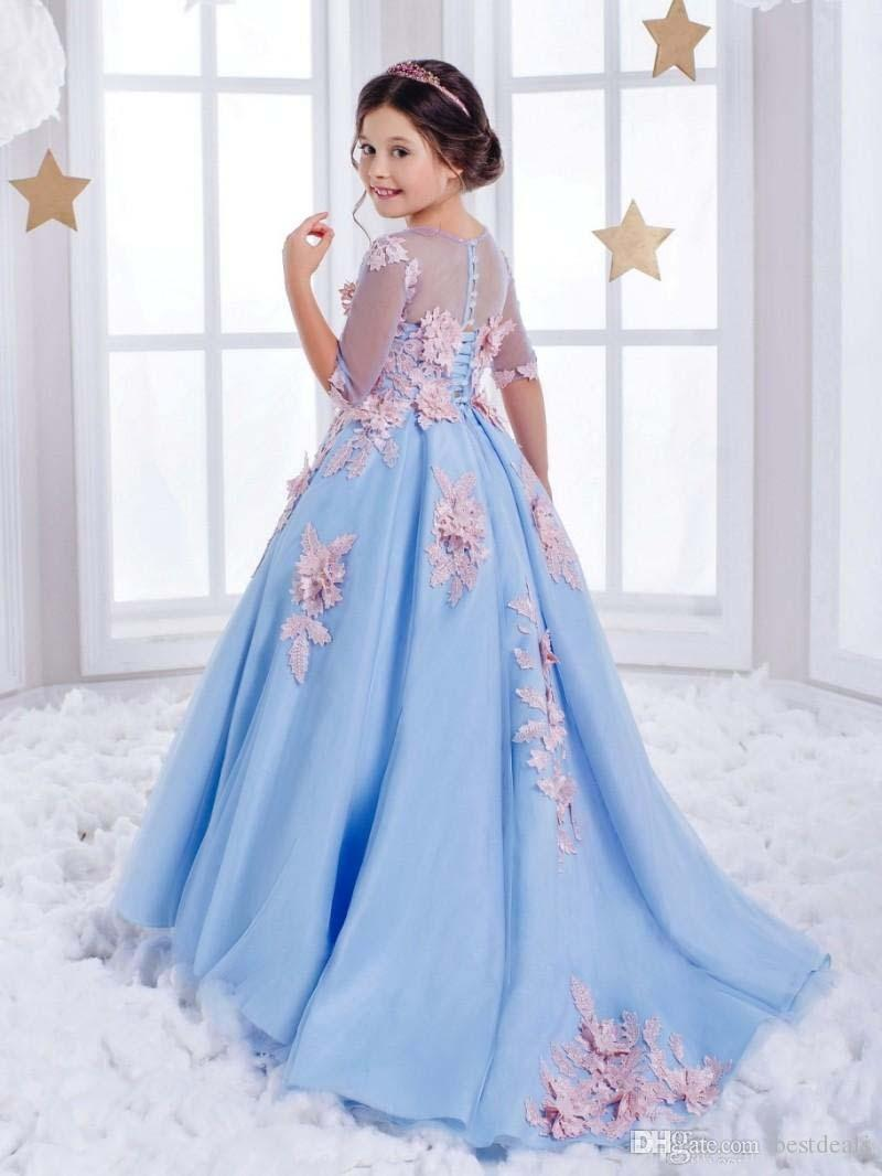 Sweet Tulle Pageant Ball Gown Half Sleeves Light Blue Open Back Gorgeous Scoop Chapel Train Flower Girl Dresses For Weddings