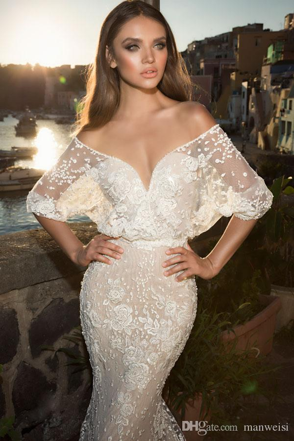 Julie Vino 2019 Mermaid Wedding Dresses Half Sleeve Lace Applique Backless Beads Bridal Gowns Sexy Plunging Neckline Fishtail Wedding Dress
