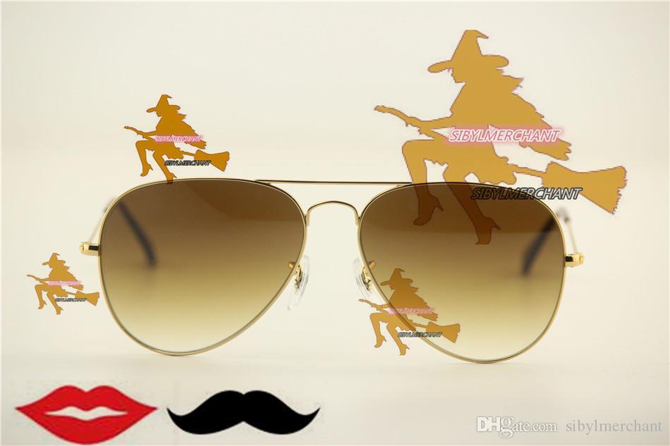 Ücretsiz hızlı kargo ikonik klasik tarzı büyük metal çerçeve cam degrade lens kadın alışveriş güneş gözlüğü, adam retro kaplama serin gafas