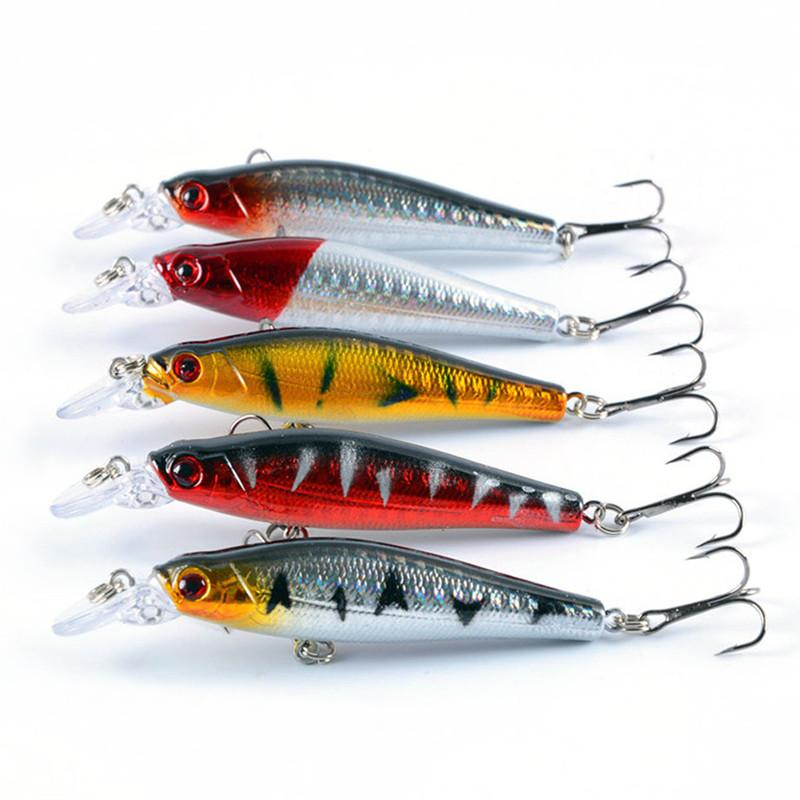 5-color 8cm 9g Hard Plastic Lures Fishing Hooks Fishhooks 3D Minnow Fishing Lure 6# Hook Artificial Bait Pesca Tackle Accessories