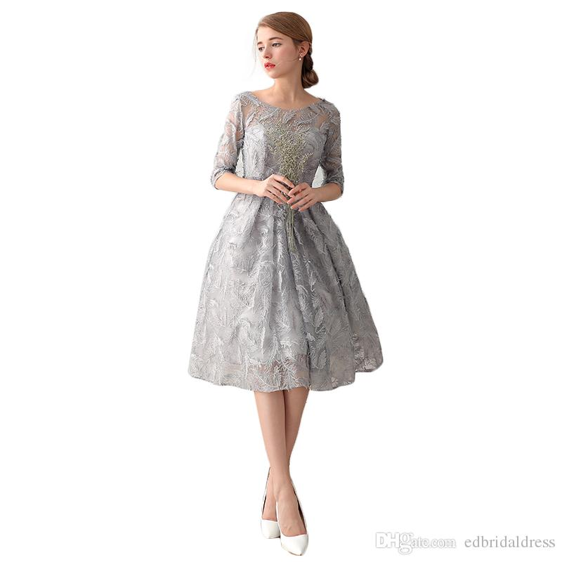 Three Quarter Sleeves Lace Tea Length Cocktail Dress Illusion ...