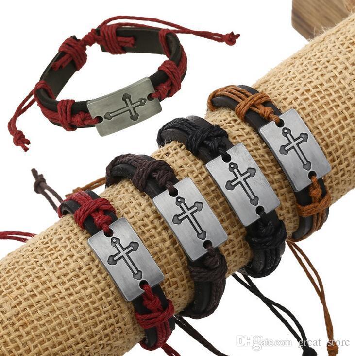 Nagelneues Art und Weisekreuzleder handgemachtes ledernes Hanfseil Retro Armband FB463 Mischungsauftrag 20 Stücke viel Schlag-Verschluss-Armbänder