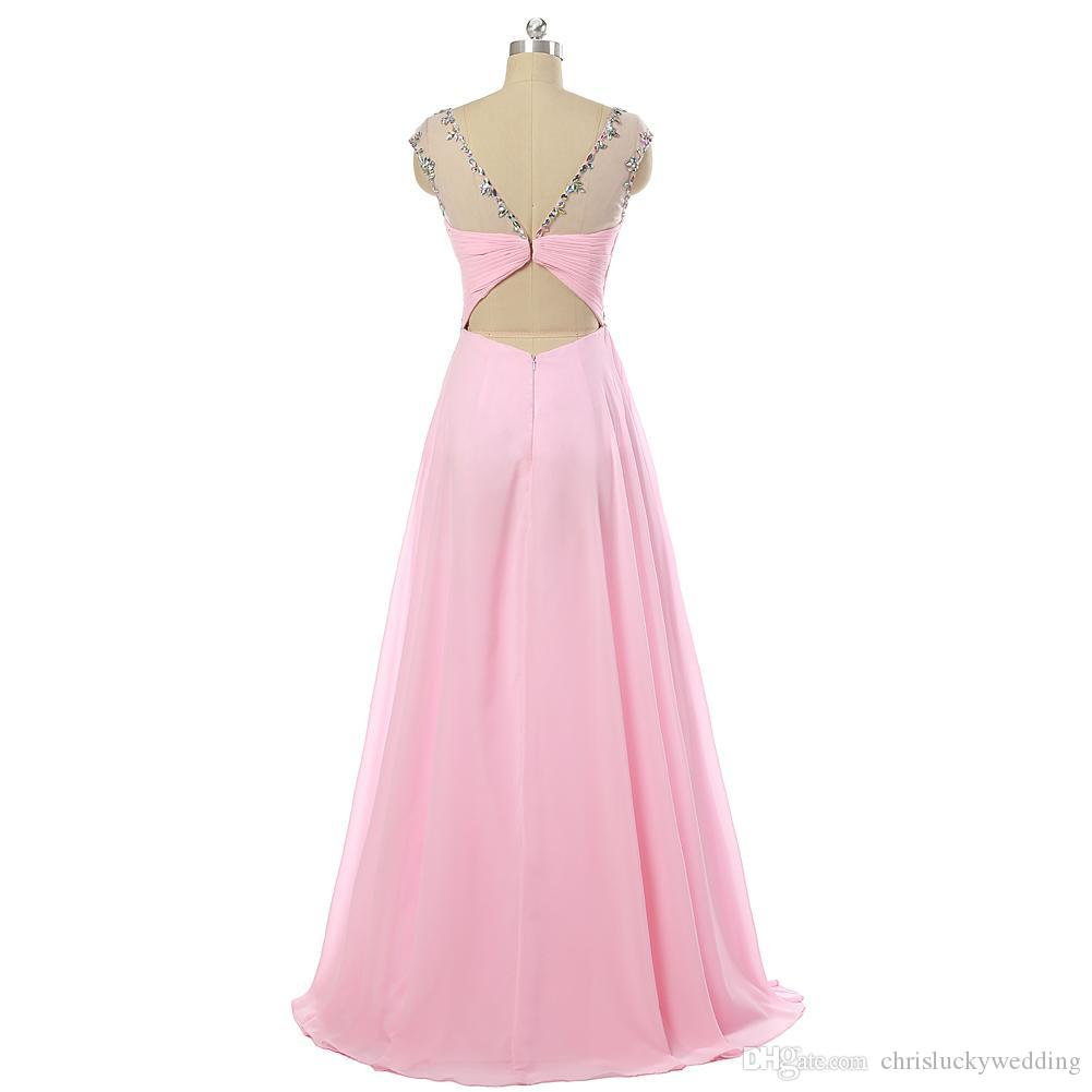 Real Photo Pink Beaded V Back Long Chiffon Prom Evening Dress Gowns 2016 Floor Length Formal Dress For Party Plus Size Formal Dresses Cheap
