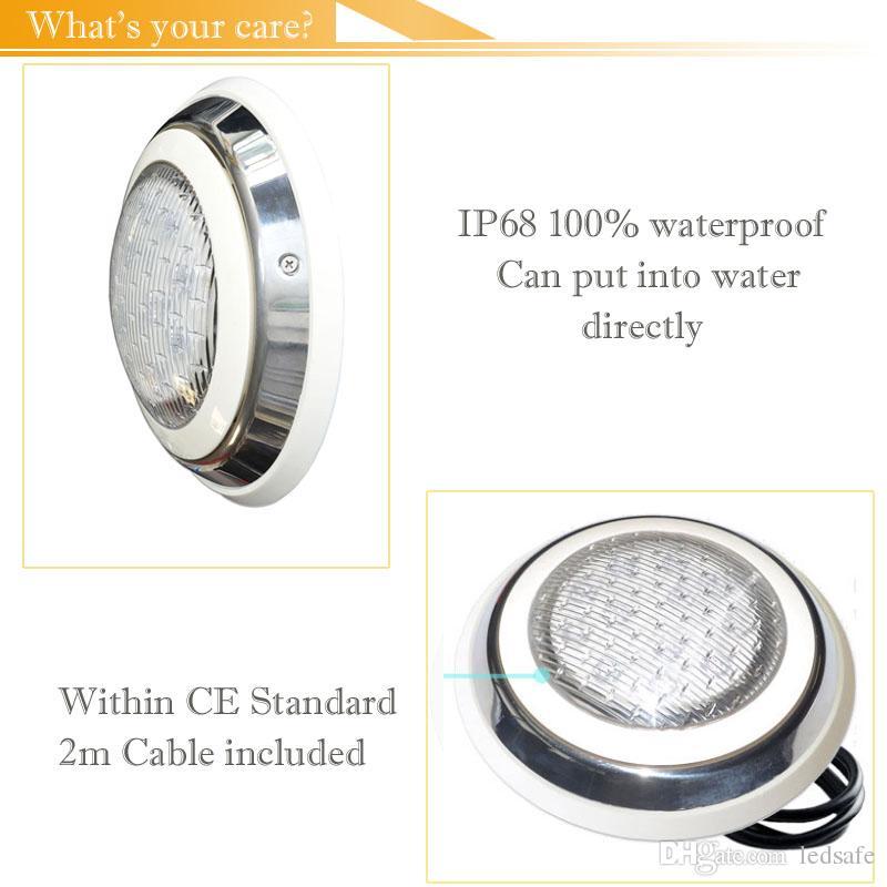 الفولاذ المقاوم للصدأ RGB تجمع الضوء LED نافورة مصباح 18W 35W AC 12V مع حمامات تحكم عن بعد جدار جبل سباحة أضواء تحت الماء الإضاءة