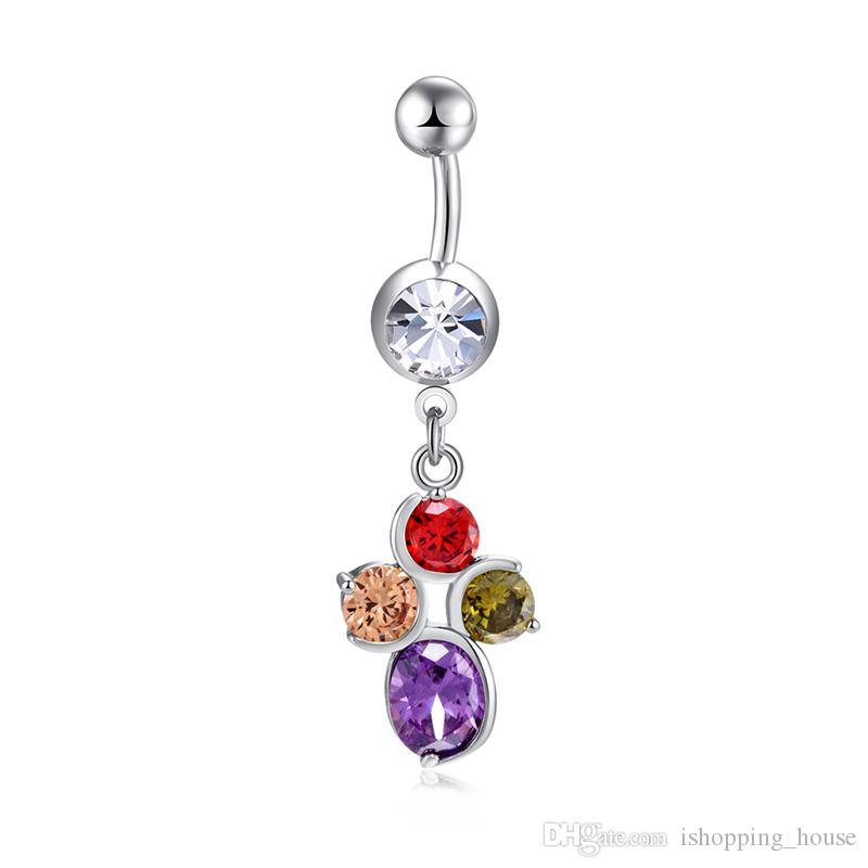 Belly Rings Flower Dangle Belly Button Rings Body Piercing 18K White Gold Plated Sexy Navel Ring Stainless Steel Wedding Belly Ring BR-280