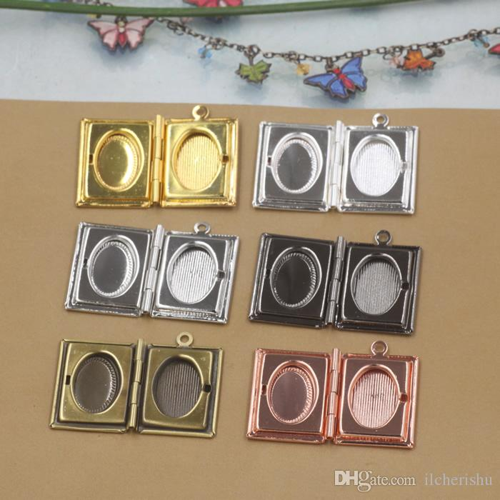 26*19*4MM Silver/antique bronze/rose gold/black gun square photo locket charms jewelry, new metal story book picture frame pendants wish box