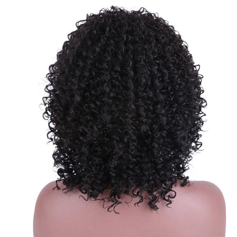 Longue fibre noire à haute température perruques de cheveux synthétiques Afro Kinky bouclés pour femmes noires
