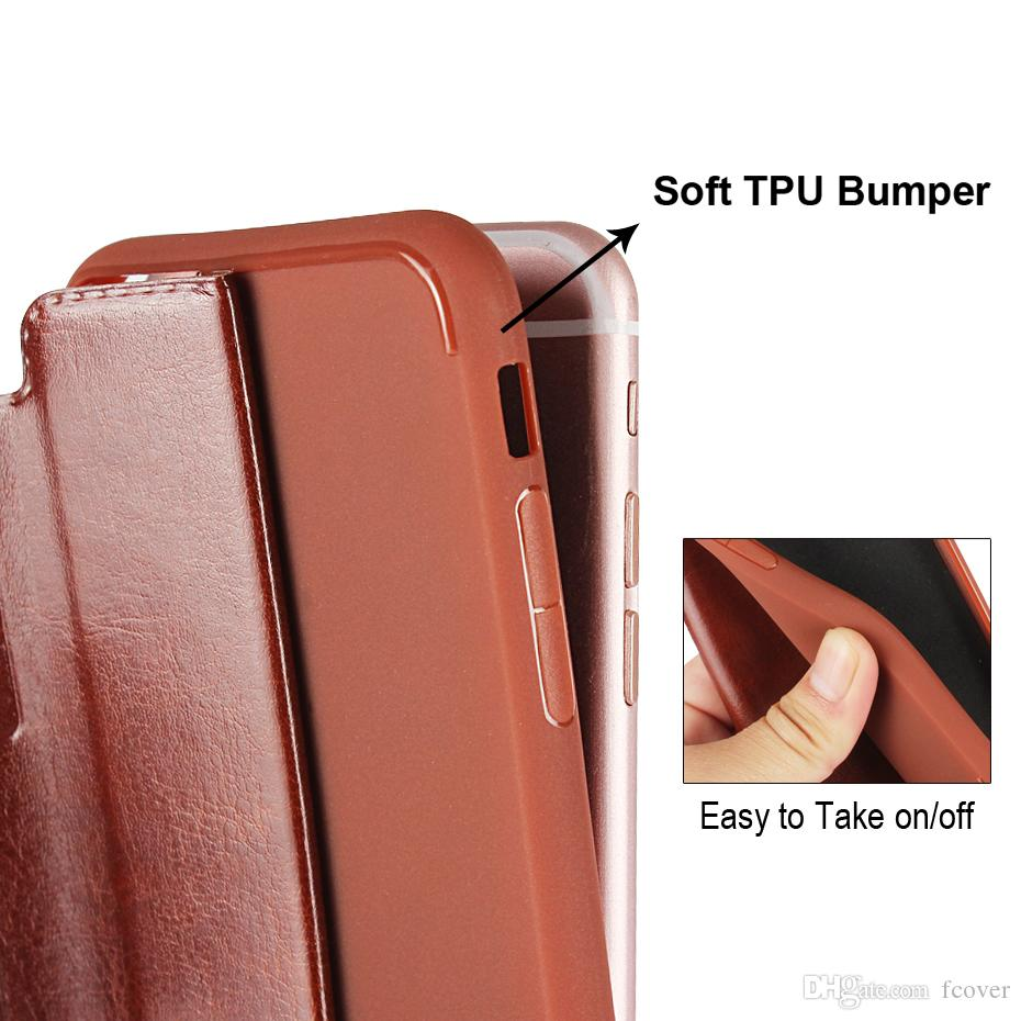 Smart Front Dual Magnetic Window View Book Stand Leather Case For iphone 5 5s SE 6 6s Plus 7 Plus 8 Plus XR iphone XS Max Smart Cover
