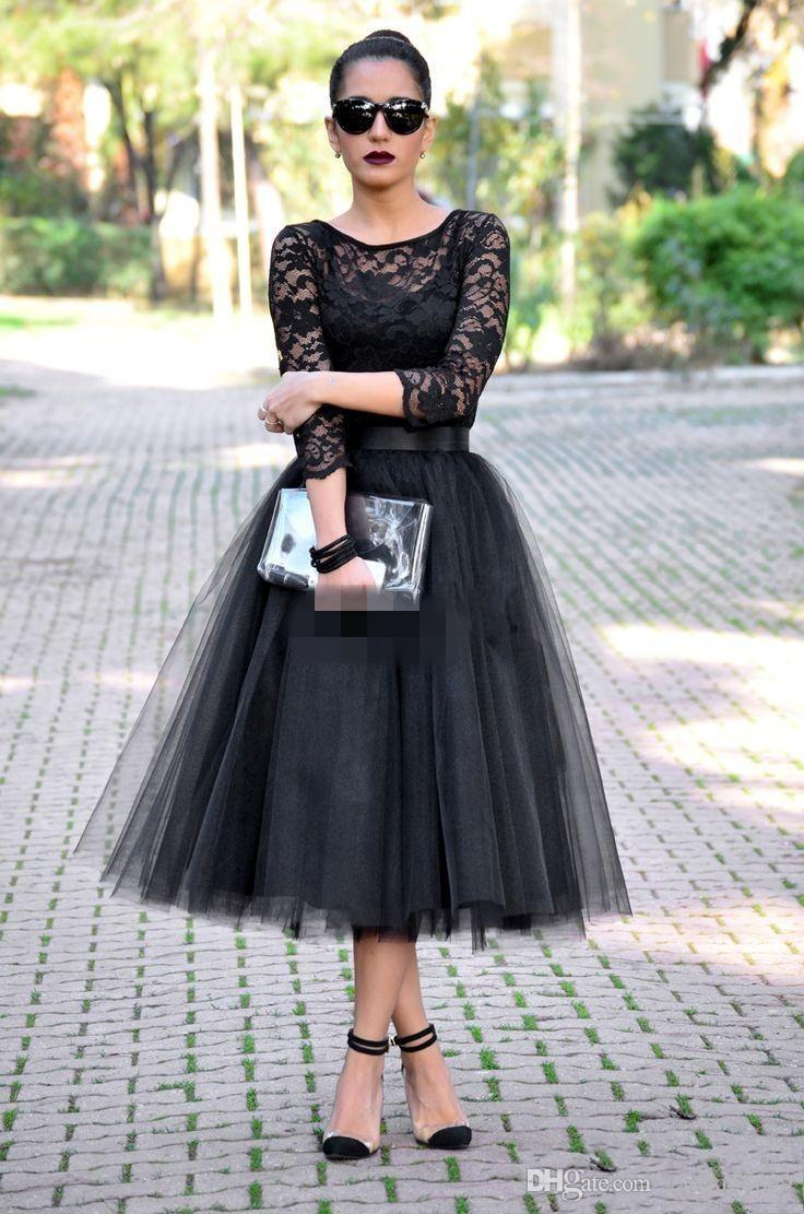 Black Tea Length Cocktail Dresses Cheap Long Sleeve Lace Crew Sheer Neck A-Line Tulle Women Formal Evening Gowns Party Queen Prom DTJ