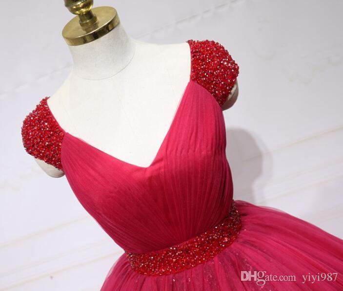 Foto vere Stunning Ball Gown Abiti da sposa Abiti da sposa con scollatura a V Scollatura consolatura Manica Pulffy Lungo Red Dress Prom Dress