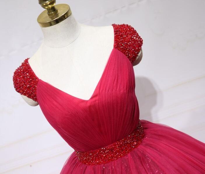 Real photos Stunning Ball Gown Arabian Wedding Dresses V-Neckline Beaded Cap Sleeve Puffy Long Red Wedding Prom Dress