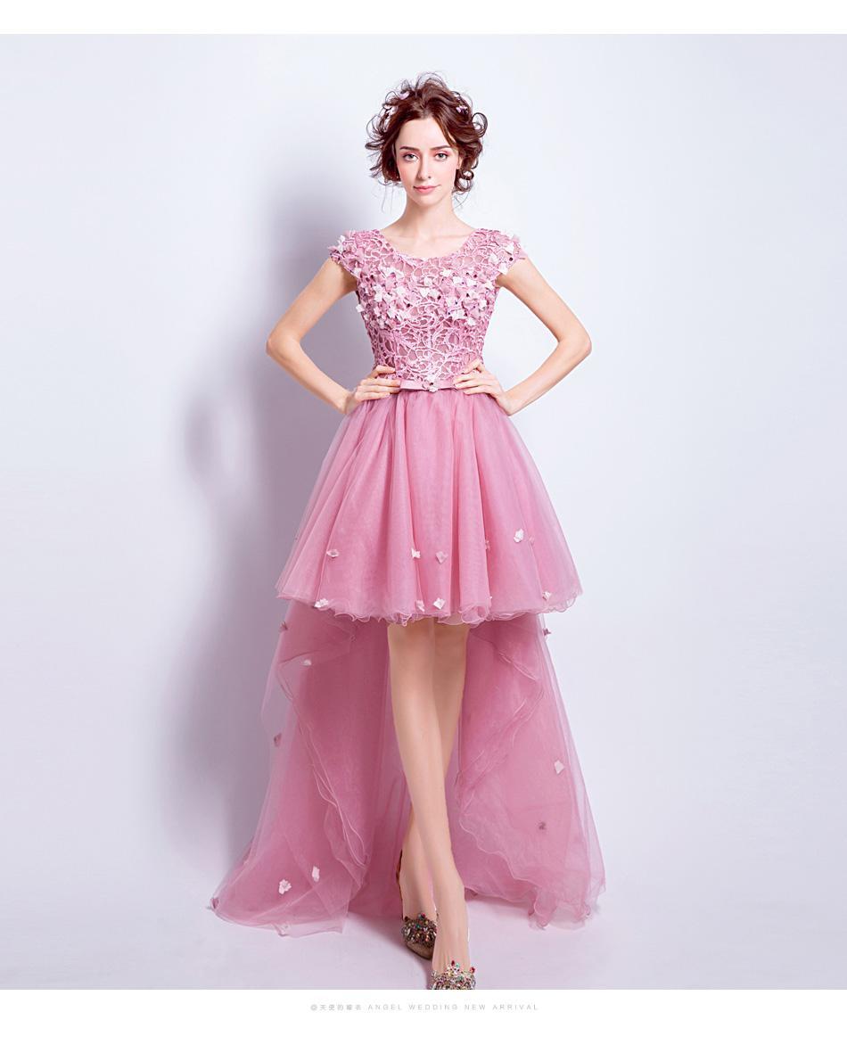 Compre Ssyfashion Dulce Rosa Lace Flor Vestido De Novia Banquete ...