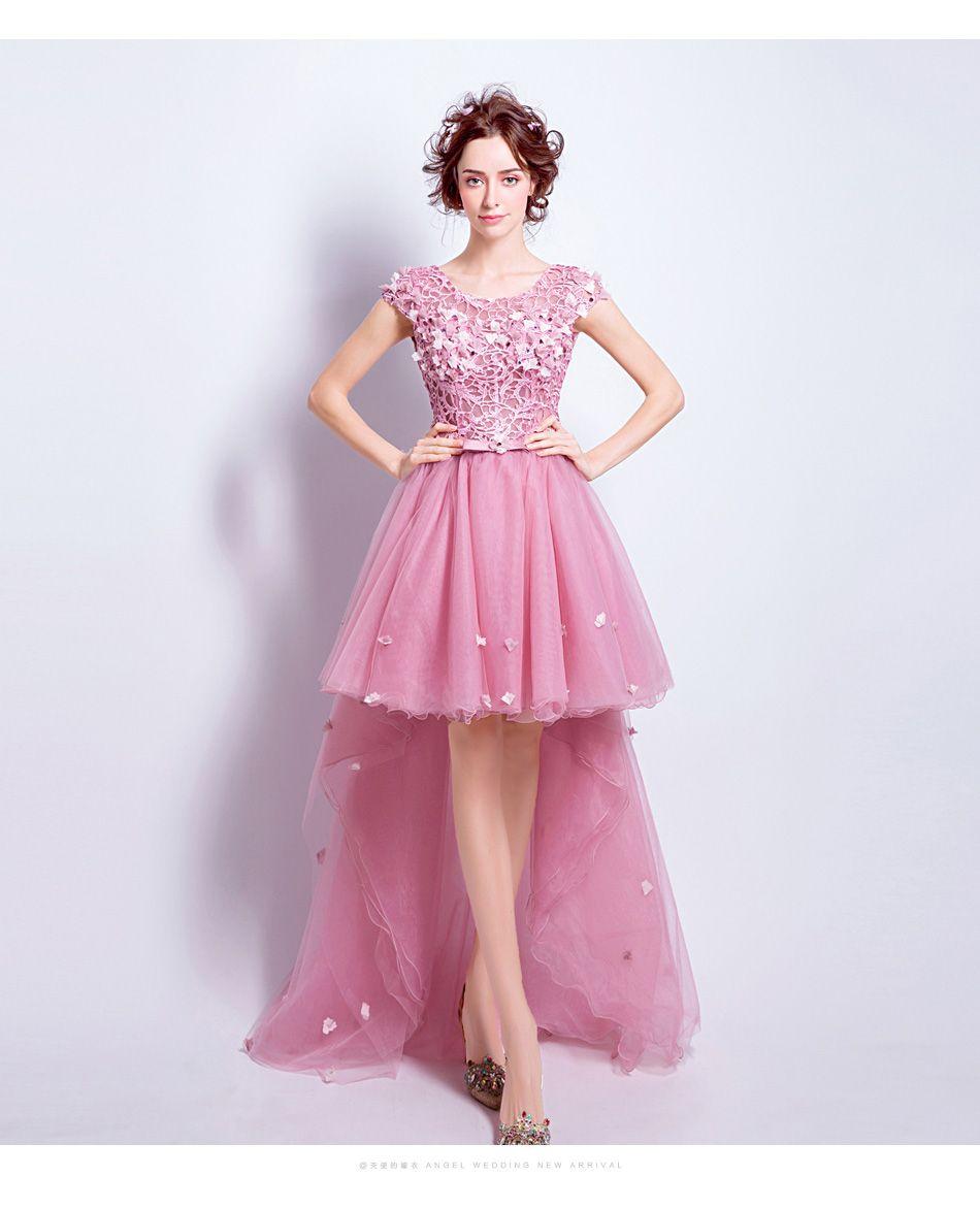 Ssyfashion Sweet Pink Lace Flower Evening Dress Bride Banquet ...