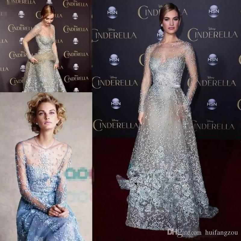 Illusion Elie Saab Prom Dresses Red Carpet Formal Dresses Modest Sky Blue  Lace Applique Pearls Sexy Long Sleeve Evening Gowns Cut Out Prom Dresses  Dark ... 2a6bd9a678ae