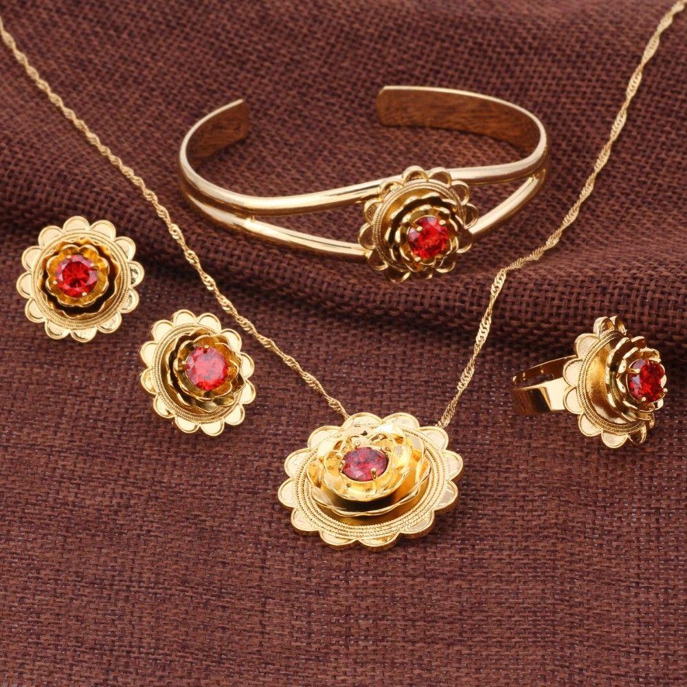 d8fb73eadb20 Compre Borde Decorativo Real 18k Oro Sólido GF CZ Conjunto De Flores Collar  Colgante De Joyería Pendientes De Brazalete Anillo Rubí Rubí Esmeralda  Amatista ...