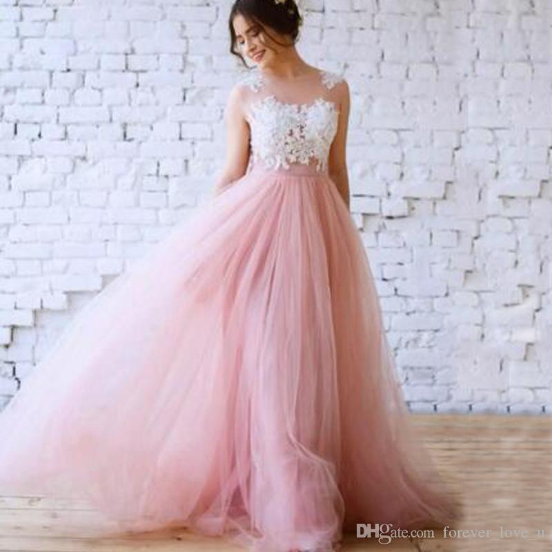 04e77013162 Discount Blush Pink A Line Wedding Dresses Vestido De Novia Illusion Bateau  Neckline Sheer Back Lace Appliques See Through Top Tulle Skirt Gown Short  Bridal ...