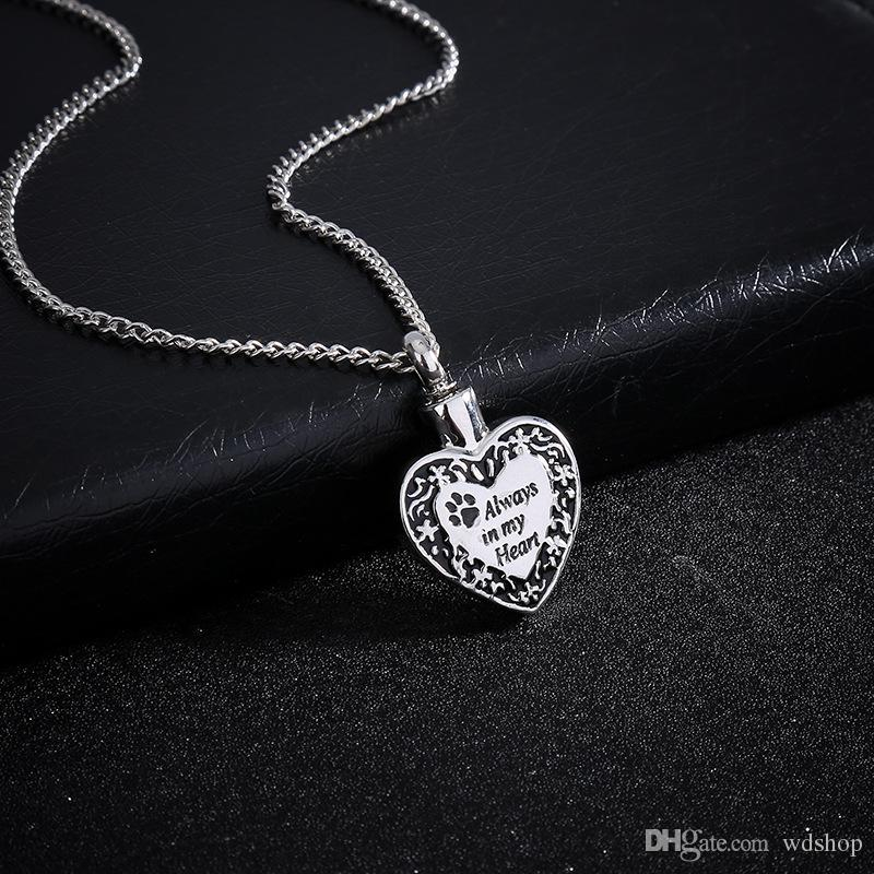 Pet Paw Herz Charm Feuerbestattung Schmuck Keepsake Memorial Urn Halskette Welpen Asche immer in meinem Herzen Feuerbestattung Halsketten