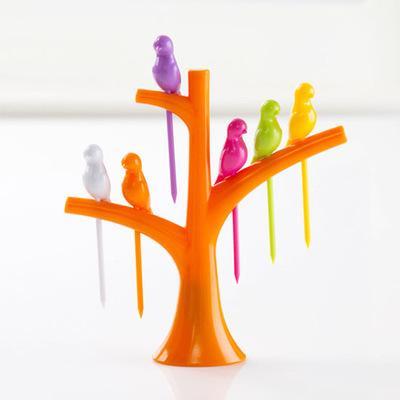 Tableware Dinnerware Sets Creative Tree+Birds Design Plastic Fruit Forks 1 Stand+6 Forks Hot Sale Vegetable Fork