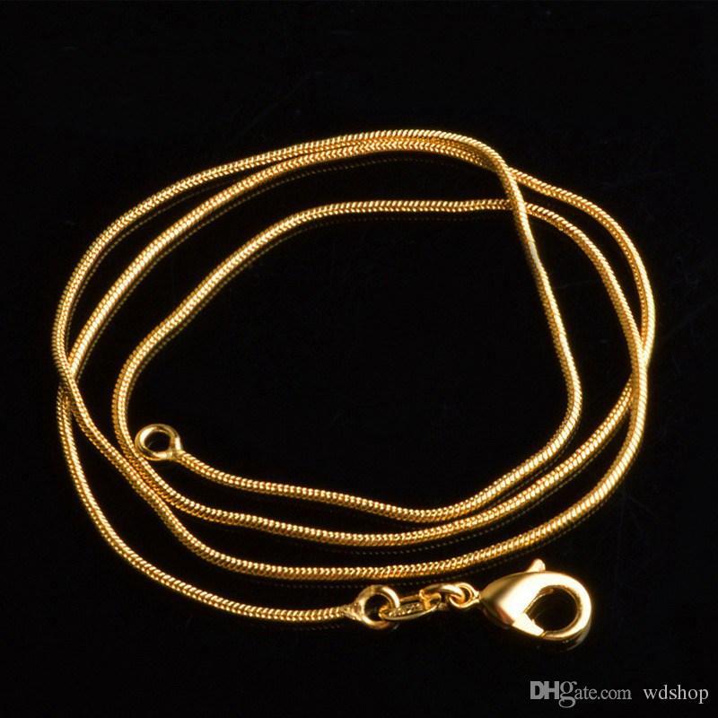 7450c34a7245 Compre 1mm 18 K Oro Cadenas Redondas De Serpientes Finas 16 30 Pulgadas  Cadena De Eslabones Collar Gargantilla 18kgp DIY Joyería Fabricación De  Accesorios A ...