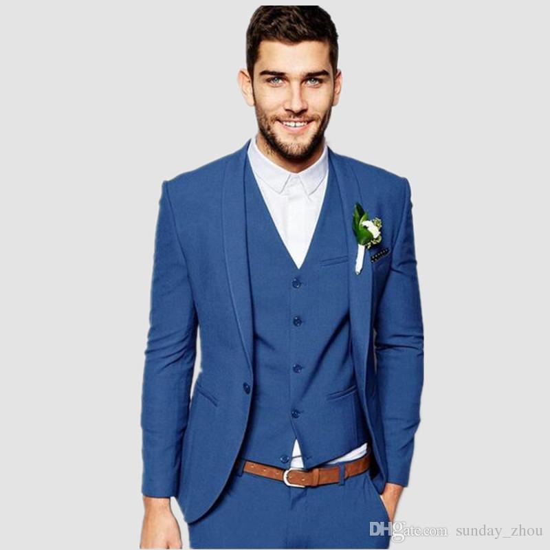 Royal Bule One Button Men Suits Fashion Latest Coat Pant Design custom suits Men Slim Fit SuitJacket+vest+pants