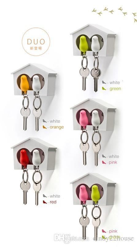 Spatz Vogel Haus Nest Whistle Key Holder Chain Ring Schlüsselanhänger Halter Boxed WholesaleHook Halter Kunststoff Whistle Key Chain Schlüsselanhänger Geschenk