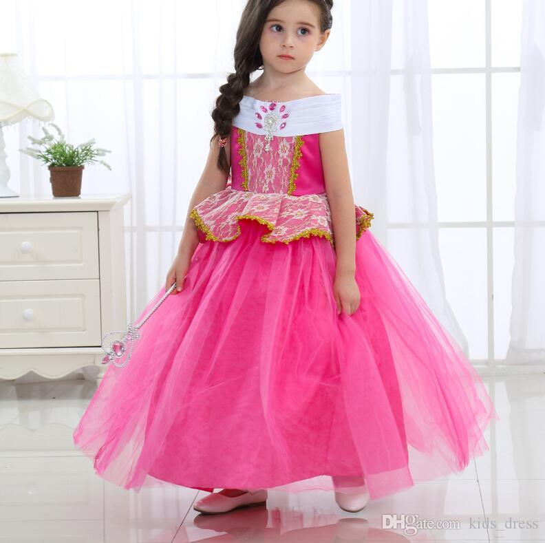 2017 Children Aurora Princess Dresses Girls Sleeping Beauty Party ...