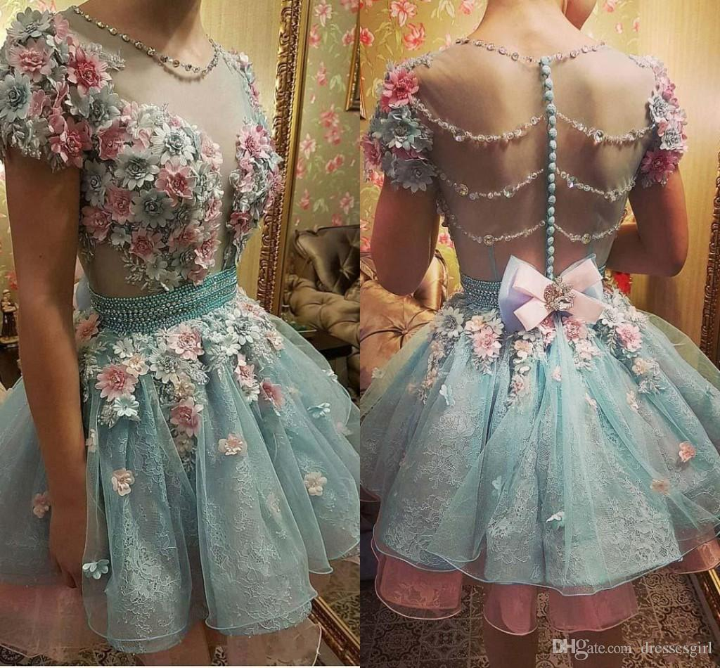 Hot 3d Floral Flowers Light Sky Blue Homecoming Dresses With Beads