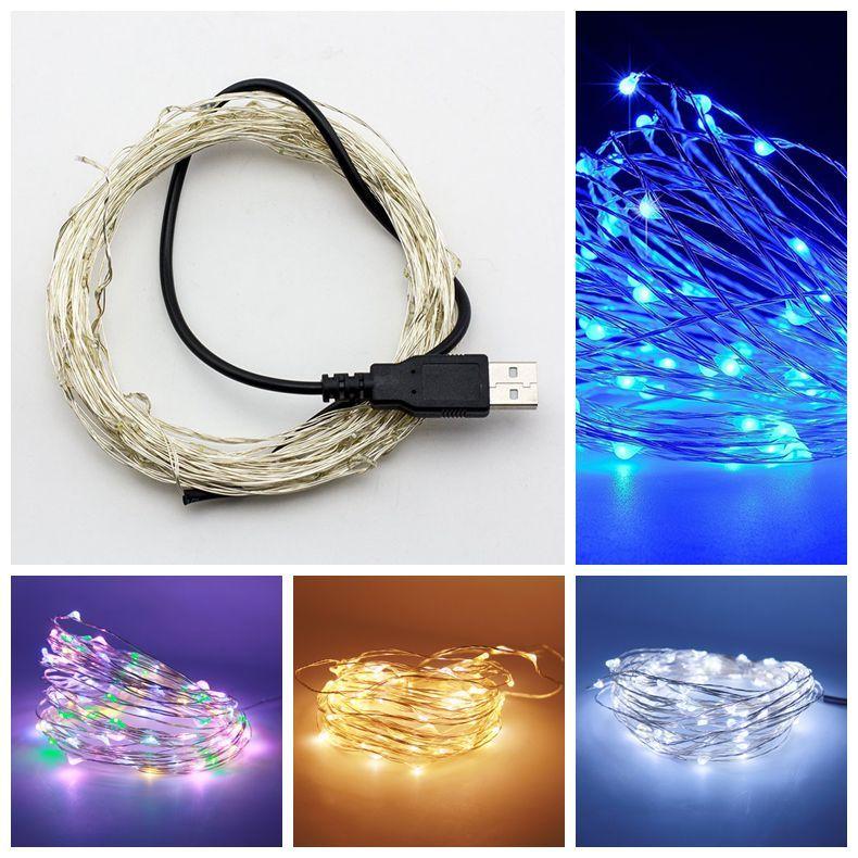 USB 5V LED String Light 5M 50leds 10M 100LEDS Sliver Copper Wire ...