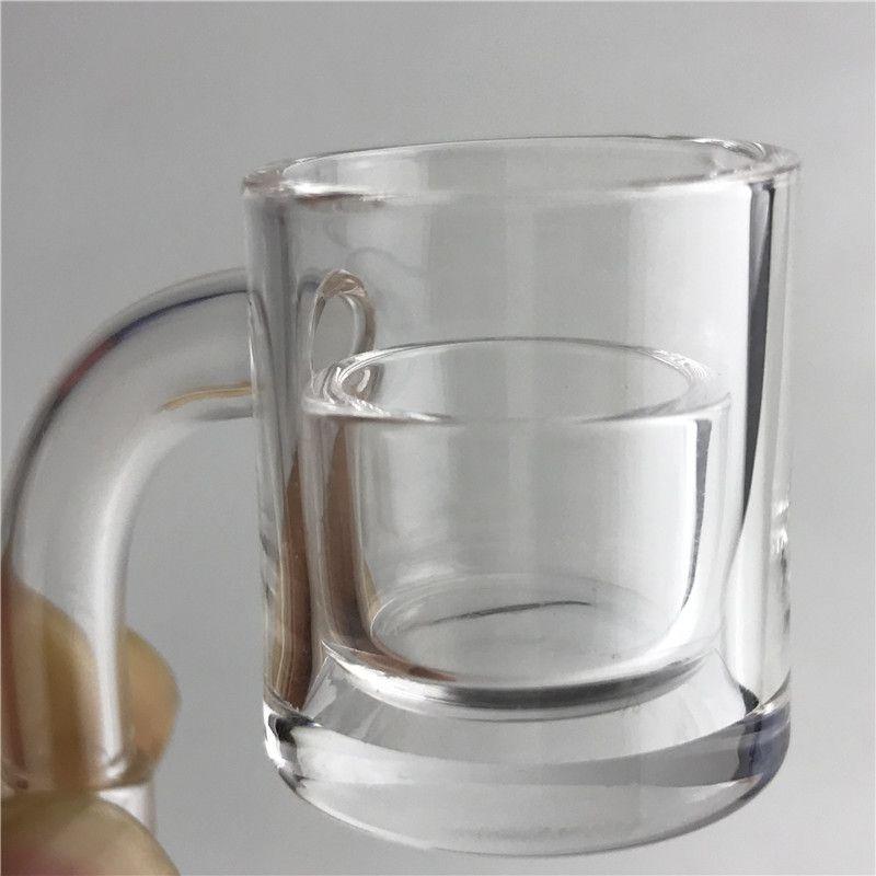 XL Quartz Insert Banger Nail Phat Bottom Thermal Skillet Carb Cap Dabber with 25mm OD Bottom 2mm Thick Honey Bucket Quartz Insert Bowl