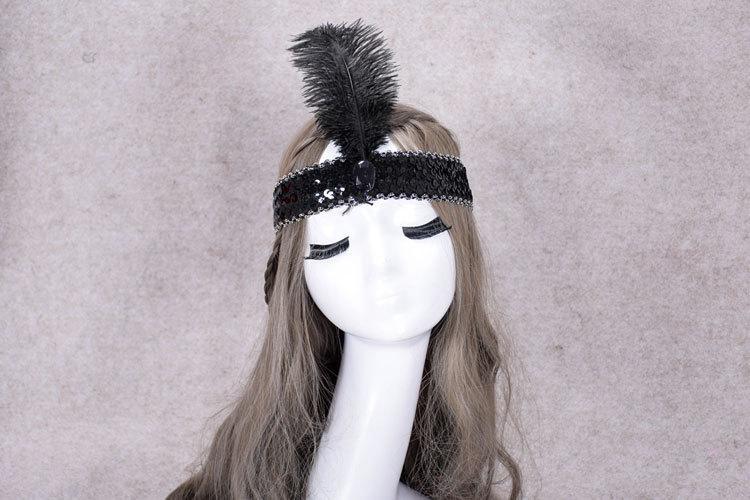 Ostrich Hair Show Headband Sequin Set Diamond Color Play Headdress Indian Adult Feather Head Wear Child Headdress