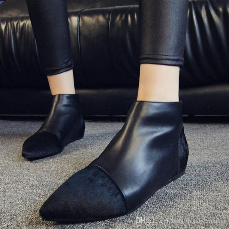 British Style Horsehair Ankle Boots Women Pointed Toe Patchwork Back Zipper Short Boots Woman Fashion Martin Boots 2017