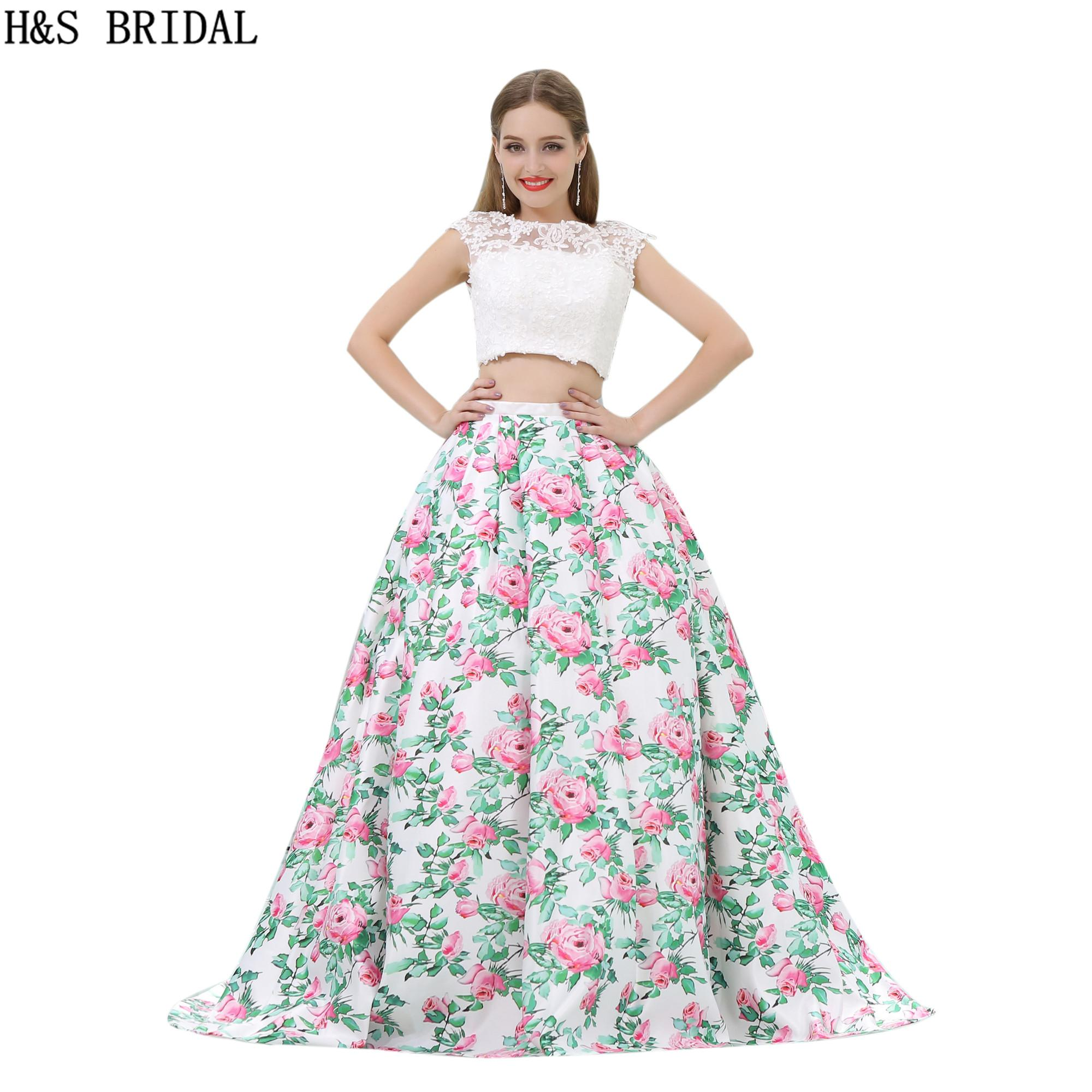 Pattern Satin Prom Dresses Two Pieces White Flower Printed Long ...