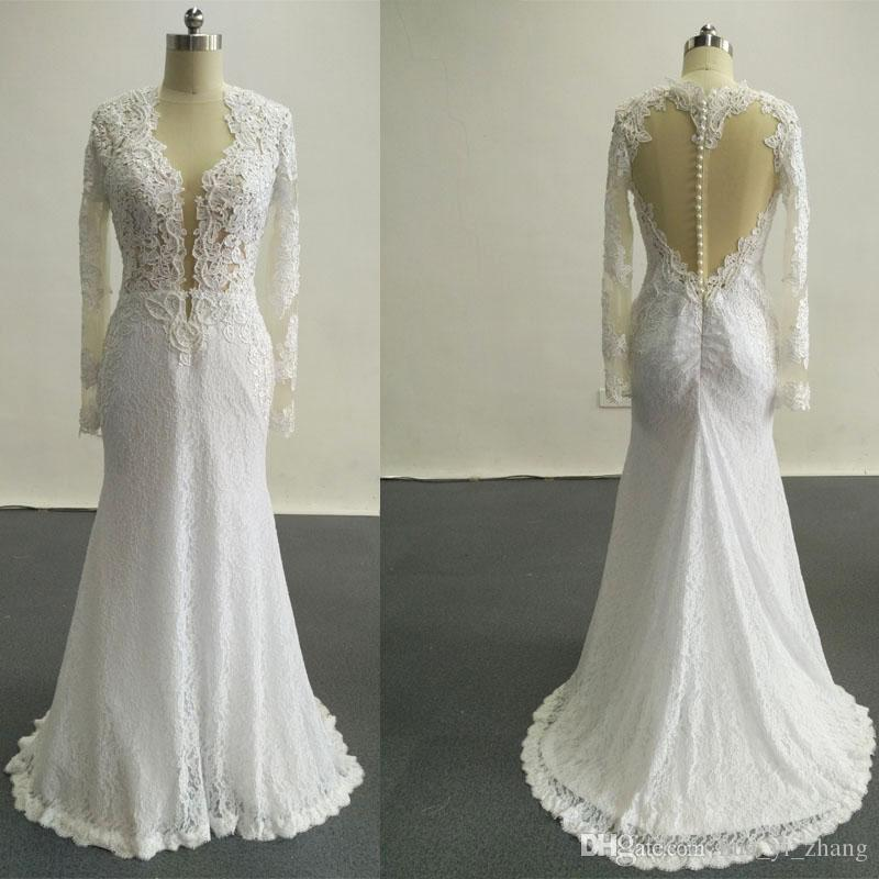 2016 New Sexy Wedding Dresses Applique Beads Covered Buttons Mermaid Crew Cap Sleeves Backless Court Train Chiffon Wedding Dresses Dhyz 01