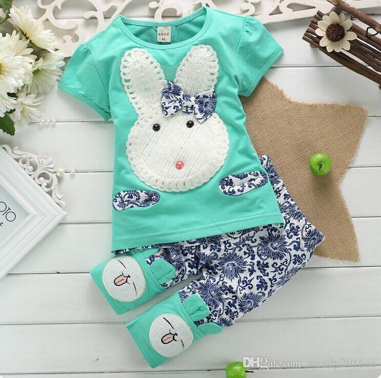 2016 Rahat pamuk kısa kollu kız giysi set Yaz kız tavşan takım elbise ceket + pantolon 2 parça için 2 renkler 2-7years eski