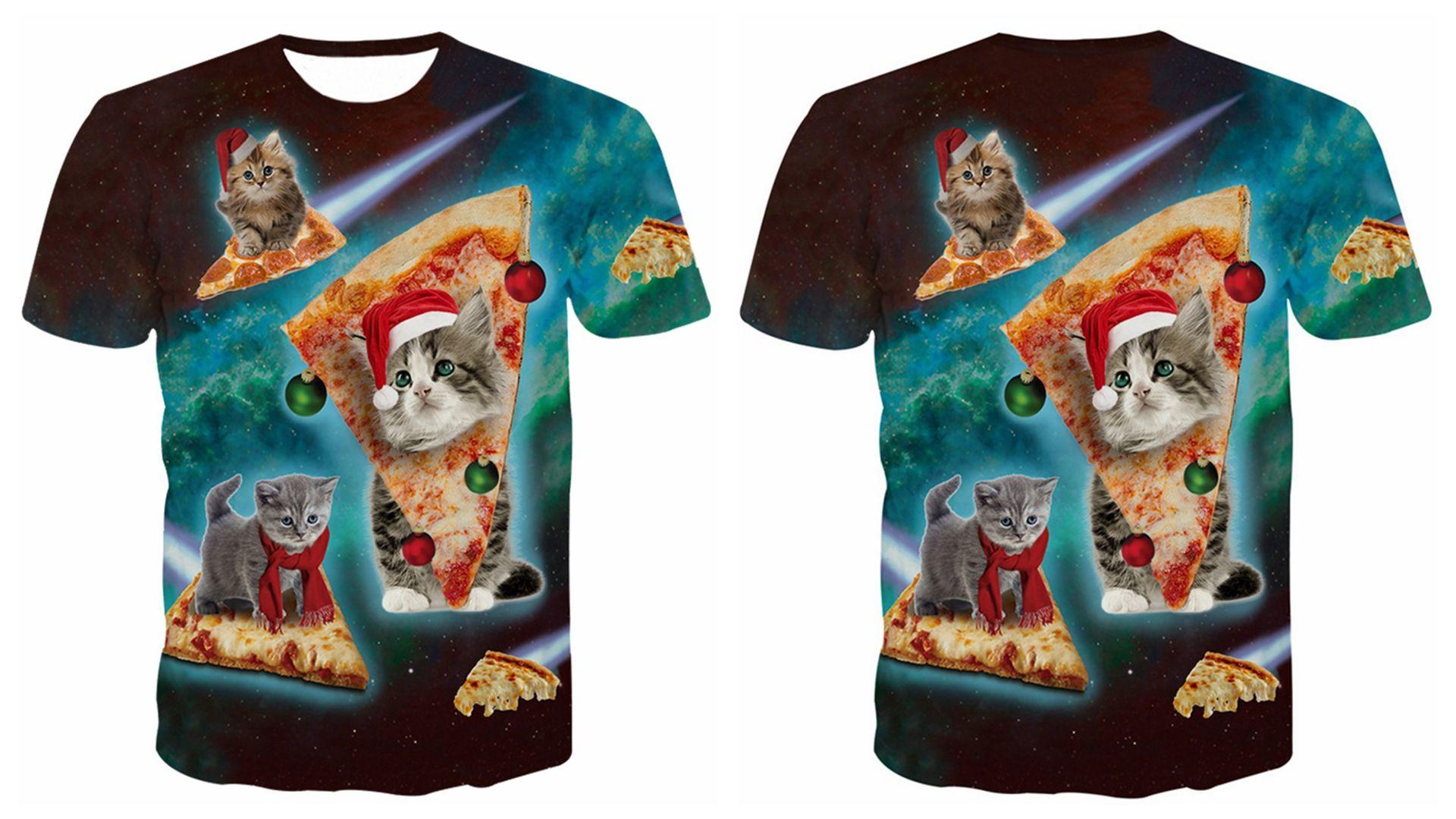 Burst T Shirt Shirt Animal Laser Cat Casual Beach fortable 3d