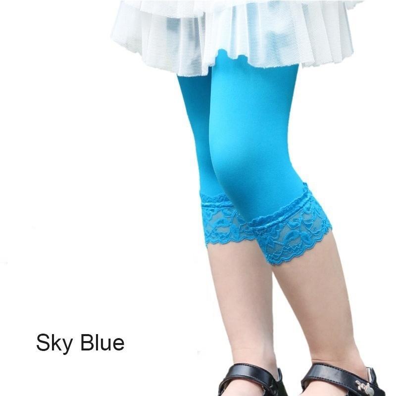 Girl leggings summer stretch Kids Lace Leggings skinny capris Pants Candy color Velvet Leggings